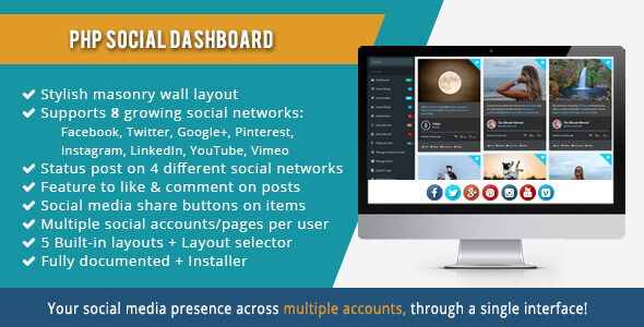 PHP Social Dashboard v1.5.5 - Sosyal Medya Yönetim Script İndir