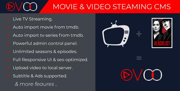 OVOO v2.5.5 – TV Dizisi ile Film ve Video Akış CMS İndir