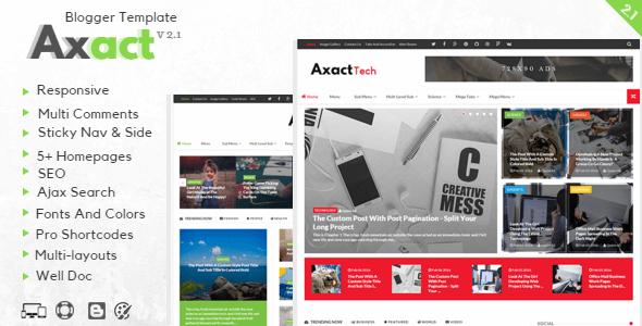 Axact v2.1 - Responsive Magazin Blogger Teması İndir