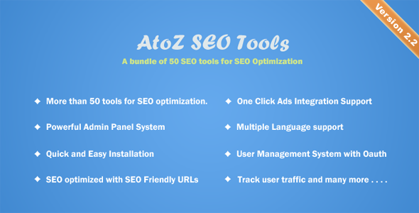 AtoZ SEO Tools v2.2 - Arama Motoru Optimizasyonu Araçları Script İndir