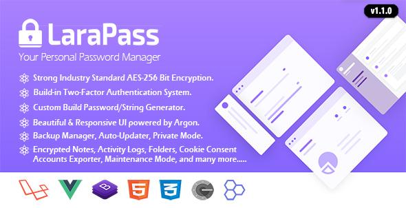 LaraPass v1.1.0 - Kişisel Şifre Yönetici Script İndir