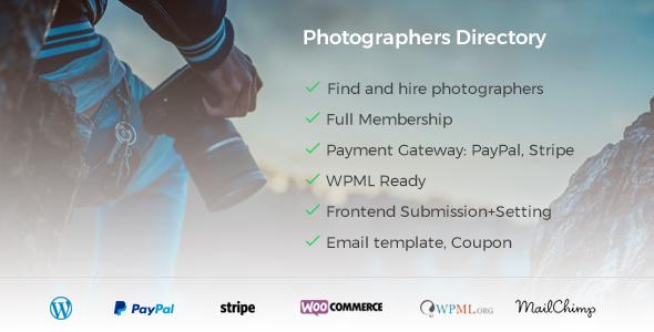 Photographer Directory v1.0.5 - WordPress Eklentisi İndir
