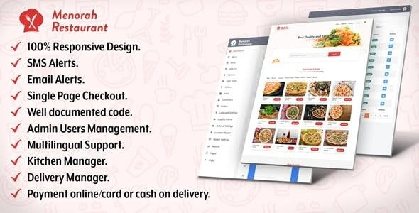 Menorah Restaurant v1.0 - Restoran Yemek Sipariş Sistemi Script İndir